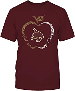 FanPrint Texas State Bobcats T-Shirt - Apple Outline Slogan - Paw