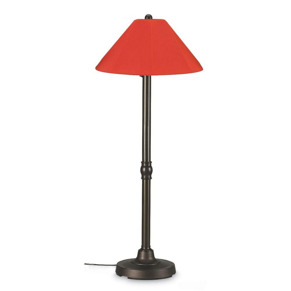 Patio Living Concepts San Juan 28 in. Outdoor Bronze Floor Lamp with Melon Shade