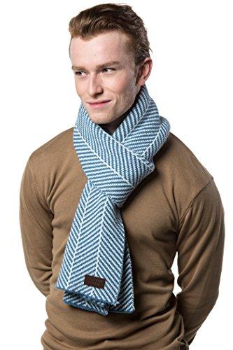 Scarf for Men, Soft Knit Scarve, in an Elegant Gift Box - Lt Blue/White ()