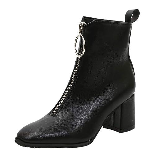 e087d32b0f4f2 Amazon.com: Hunzed women shoes Casual Leather Front Zipper high ...
