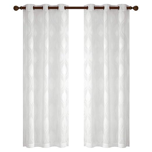 Gardinen Schals Voile Vorhänge mit Ösen Jacquard Wellenmuster Ösenschal Elegant Schlafzimmer Vorhang für kleine Fenster Adele