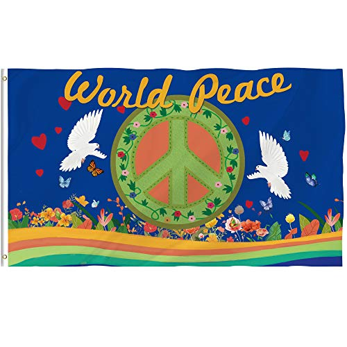 Brass Peace Sign - Bonsai Tree World Peace Flag 3x5 Ft Double Sided and Double Sided Peace Corps Flags with Brass Grommets Peace Sign Garden House Outdoor Banners