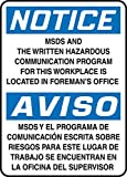 Accuform MSDS and The Written Hazardous Communication PROGRAMFOR This Work Place is Located in FOREMAN'S Office (BILINGU