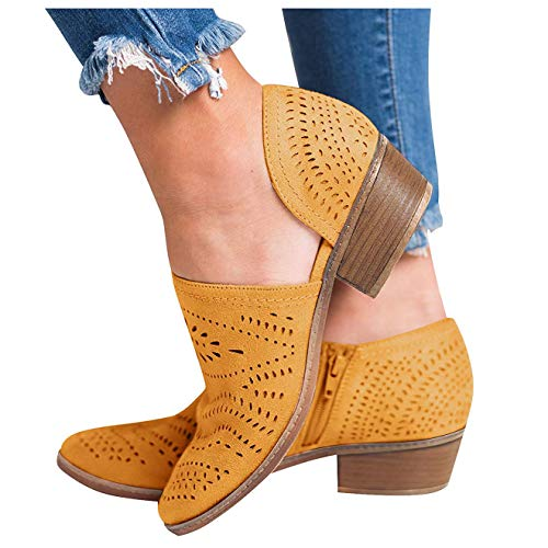 GOUPSKY Women's Ankle Boots Slip On Loafers Pointed Toe Chunky Block Low Heel Office Dress Casual Shoes Cutout Booties - Dress Loafers Shoes Womens