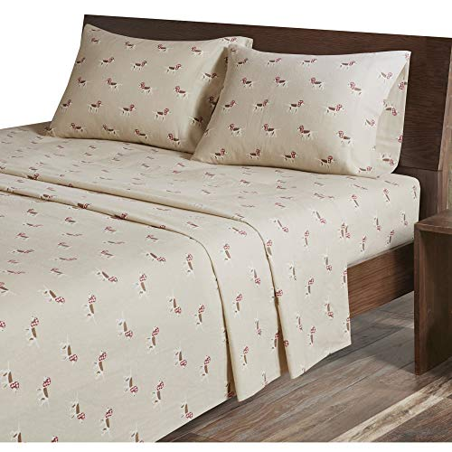 - Woolrich Flannel Queen Bed Sheets, Lodge/Cabin Tan Dog Bed Sheet, Bed Sheet Set 4-Piece Include Flat Sheet, Fitted Sheet & 2 Pillowcases