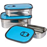 Bambusa Stainless Steel Lunch Food Containers Bento Box, Leak Proof Seal, Healthy, Kids, Adults, Outdoor Picnic Meals, BPA Free, Blue