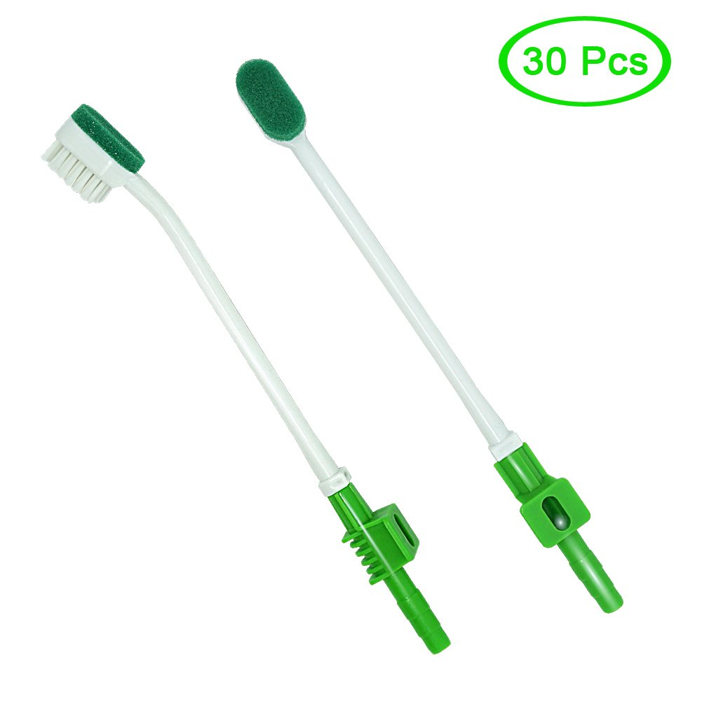 MUNKCARE ICU Patient Oral Cleaning Disposable Suction Swab Toothbrush Head of Green (BOX of 30pcs)