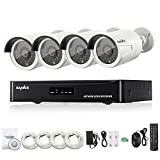 SANNCE HD 1080P 4CH NVR POE Security Camera System + 4*1080P 100ft Night Vision CCTV Security System (2.0 Mega pixels, Power Over Ethernet, Smart IR Cut, IP66 Weatherproof) - No HDD