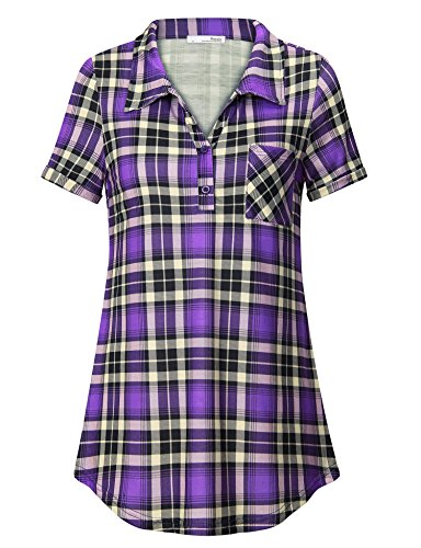 Messic Plaid Shirt Women, Ladies Checkered Button Short Sleeve Polo Top Casual Loose Fit Collared Blouse Fashion 2018 A Line Flare Tunic Sweatshirt(Violet,X-Large)