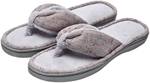 a592f418319f92 Women s Soft   Comfy Knitted Plush Fleece Lining Memory Foam Spa Thong Flip  Flops House Slippers