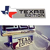 iJDMTOY (1) Chrome Finish 3D Texas Edition Emblem Badges For Ford F-150 F-250 F-350 (Also Universal For Chevy GMC Dodge Trucks)