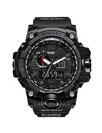 SMAEL Military Watch, Sports Analog Digital Quartz Watch Dual Time Display Army Watch Stopwatch for Men
