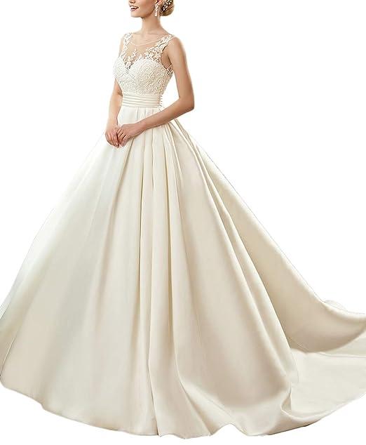 Amazon.com: Yisha Bello - Vestido de novia de encaje para ...
