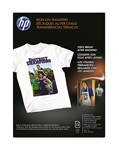 HP Iron-On Transfers, 8.5 x 11 Inch, 12 sheets
