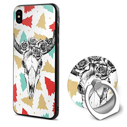 Flower Deer Sugar Skull Slim Hard PC Back Protective Cover Anti-Scratch Shockproof Case with Ring Holder for iPhone X/iPhone Xs 5.8 Inch Black
