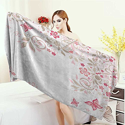 (Anhounine Wrap Towels Floral Curly Branches Wildflowers Butterflies Dots Romantic Bridal Wedding Theme Quick-Dry Towels 63
