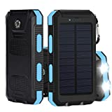 Solar Charger, iBeek® Portable 10000mAh Dual USB Solar Battery Charger External Battery Pack Phone Charger Power Bank with Flashlight & Compass for Outdoors (Rainproof, Dust-proof, Shockproof) - Blue
