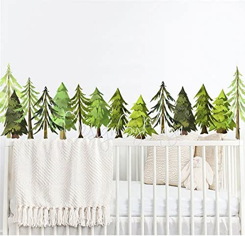 wall mural white nursery decor nature wall decals black and white pine tree decals Pine tree wall decal baby nursery decor