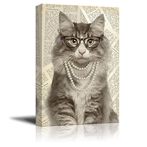 wall26 Creative Animal Figure on Vintage Paper Canvas Wall Art - Lady Cat Wearing Glasses Pearl Necklace - Giclee Print Gallery Wrap Modern Home Decor Ready to Hang - 16x24 ()