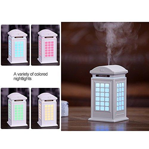 Humidificador clásico cabina de teléfono, de Found Me, 300 ml, alta capacidad, con 7 luces LED de color aromaterapia, humidificador para dormitorio, ...