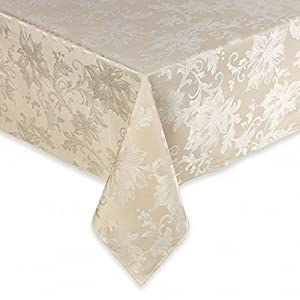 Superb BBu0026B Holiday Joy Ivory Damask Flower Fabric Tablecloth Table Cloth 90 Round