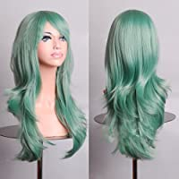 "BERON 28 ""Long Big Wavy Hair Resistente al calor Cosplay Peluca Extensiones de cabello Mint Green"