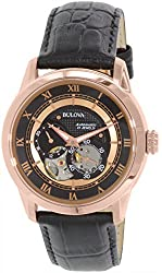Bulova Men's Japanese Stainless Steel and Leather Automatic Watch, Color:Black (Model: 97A116)