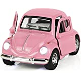 Toy Diecast Car Play Vehicles, Classic Die cast Model Cars, Retro, truck, Old Beetle Models, Moving Vehicle Toys, Pull Back Action with Lights and Sounds 1:38 - iPlay, iLearn (Pink)