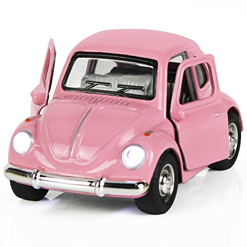 Toy Diecast Car Play Vehicles, Classic Die cast Model Cars, Retro, truck, Old Beetle Models, Moving Vehicle Toys, Pull Back Action with Lights and Sounds 1:38 - iPlay, iLearn (Pink) Beetle Diecast Model