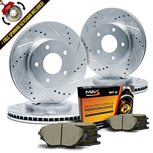 max-kt043313-front-rear-silver-slotted-cross-drilled-rotors-and-ceramic-pads-combo-brake-kit
