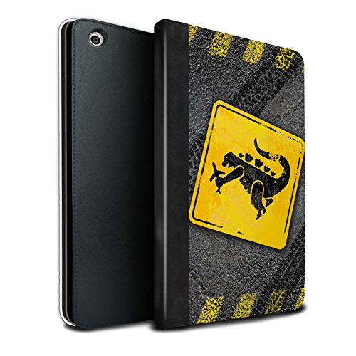 STUFF4 PU Leather Book/Cover Case for Apple iPad Mini 1/2/3 Tablets/Godzilla Design/Funny Road Signs Collection