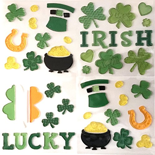 St. Patrick's Day Gel Cling Decoration Pack: Textured Irish, Lucky Horseshoe, Four Leaf Clover, Pot of Gold, Top Hat, Flag, Shamrocks