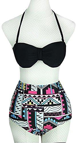 BKNY, Women's Retro Style High Waisted Tribal Print 2 Piece Swimwear Bikini, Black Medium