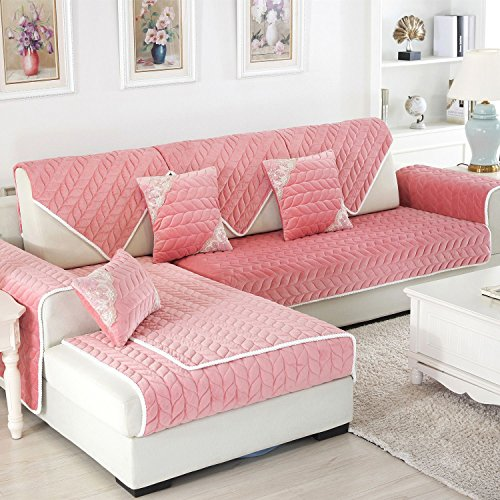 Kids Sectional Sofa - OstepDecor Multi-size Soft Rectangular Winter Quilted Furniture Protector and Slipcover for Pets, Kids, Dogs - Large & Standard Sofa, Loveseat, Recliner and Chair | Pink 43