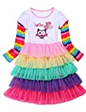 7 yr old girl clothes - PrinceSasa Matching Girls Outfits Sisters Rainbow Dress for Girls,OWL,7-8 Years(Size 140)