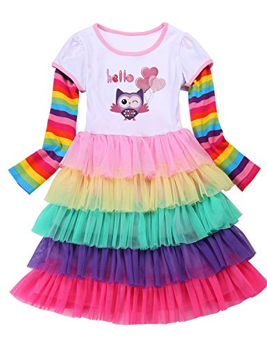 (PrinceSasa Elegant Girls Clothes Unicorn Rainbow Party White Cupcake Owl Long Sleeve Spring Dress for Princess Toddler Birthday Outfits Dresses,OWL,2-3 Years(Size)
