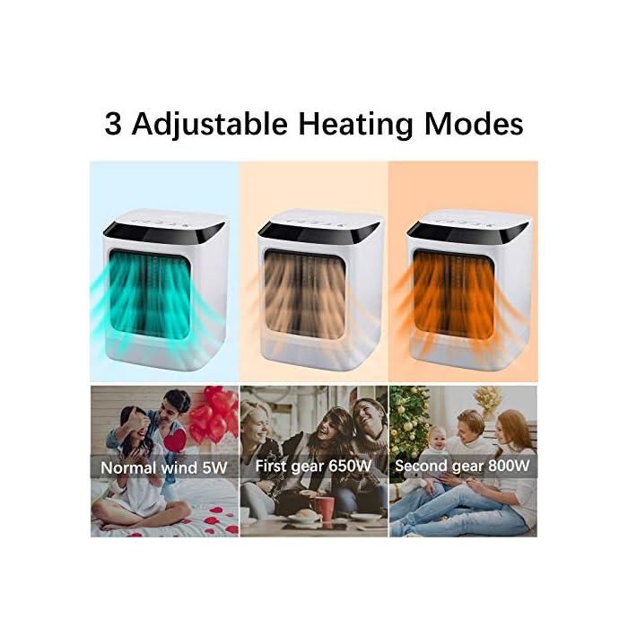 """5126zoPBo2L Modo de refrigeración y calefacción: el calefactor tiene dos modos de calefacción y un modo de refrigeración para todas las estaciones. El calentamiento rápido 2s te ofrece inviernos cálidos con convección de aire eficiente y durabilidad. Prensa larga """"-"""" se convierte en un viento frío natural. La estufa se apaga automáticamente en caso de sobrecalentamiento y apagado accidental. El calentador de espacio está fabricado con material ignífugo de la más alta calidad para un problema de seguridad. Luz LED de 7 colores y asas portátiles: siete luces LED pueden ser iluminadas por la noche, pequeñas y ligeras, con asas portátiles, puedes colocar este calefactor eléctrico en tu oficina o casa para el escritorio o para uso doméstico."""