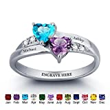 Engagement Ring Promise Ring For Her Couples 2 Heart Birthstones 2 Names