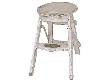Chic antique in sgabello scaletta sgabello shabby chic bianco