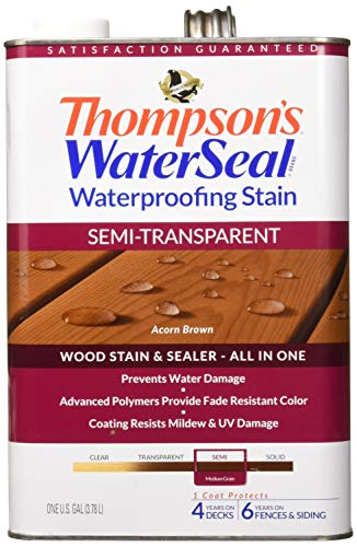 Thompson's TH.042841-16 Waterseal Waterproffing Stain - Semi Transparent, Acorn Brown, 1 gallon (Best Exterior Semi Transparent Stain)