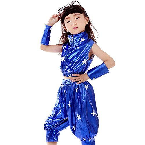 ZEVONDA Girls Boys Stars Jazz Dance Costumes Performance Stage Hip-Hop Dance Wear Outfits, Deep blue, US (Contemporary Dance Costumes For Boys)