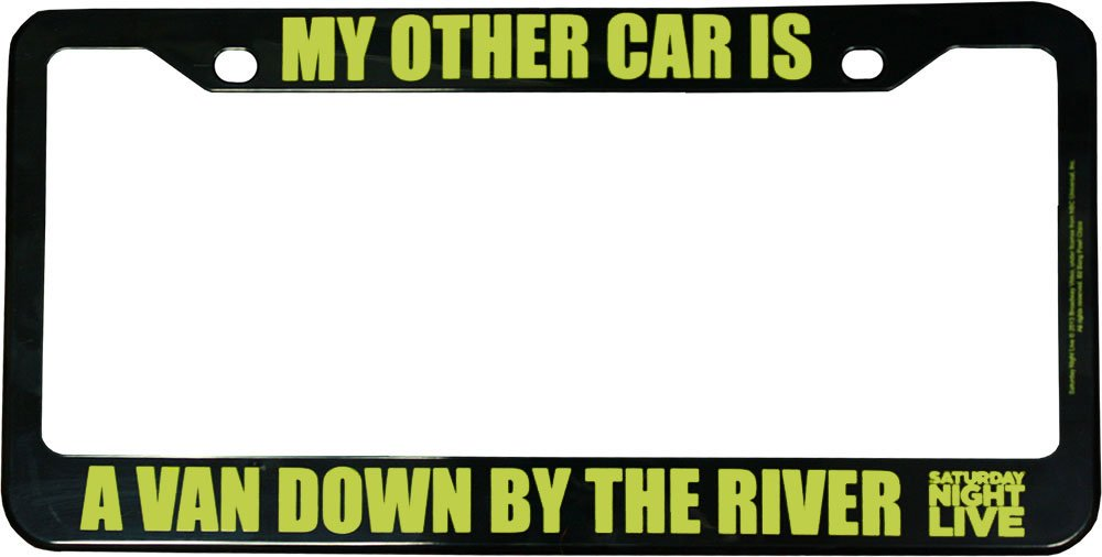 amazoncom saturday night live my other car is a van down by the river license plate frame bif bang pow automotive - Doctor Who License Plate Frame
