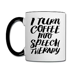 SLP Turn Coffee Into Speech Contrast Coffee Mug by Spreadshirt, white/black