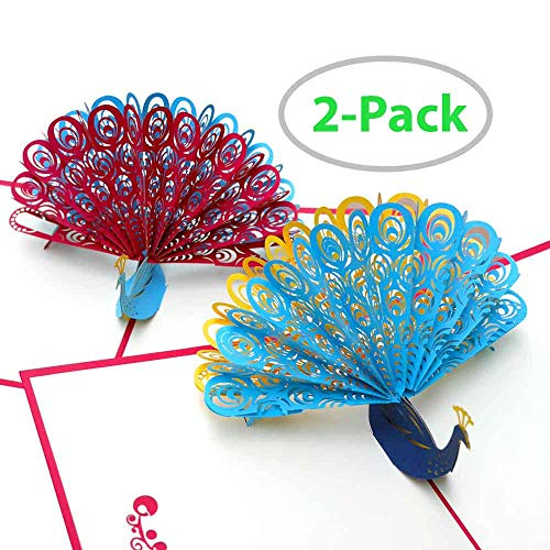 Peacock Pop Up Card | 2-PACK | Make Your Card POP! | Pop Up Cards All Occassion | Birthday Card Thank you Cards Greeting Cards Thank You Cards Greeting Cards for Every Occasion | Greeting Card Set
