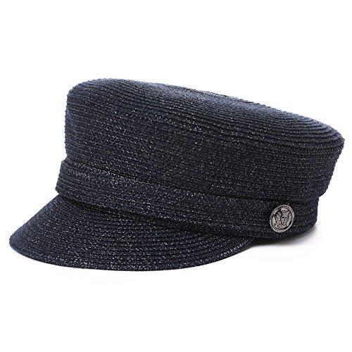 Jeff & Aimy Ladies Lightweight Straw Visor Beret Newsboy Baker Boy Beach Sun Hat Stylish Cap Navy Blue