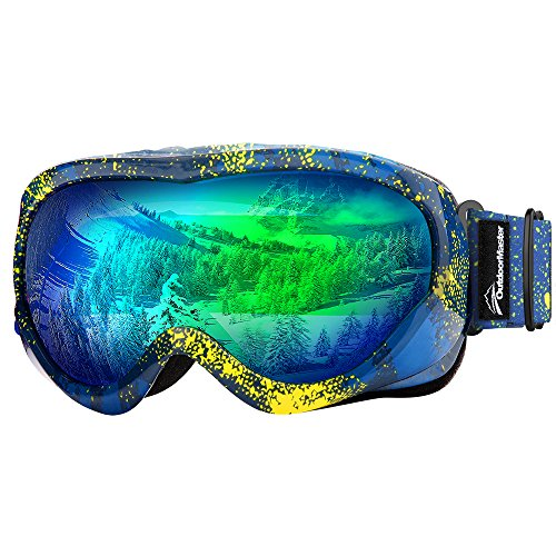 OutdoorMaster Kids Ski Goggles - Helmet Compatible Snow Goggles for Boys & Girls with 100% UV Protection (Yellow Pattern Frame + VLT 18% Green Lens)