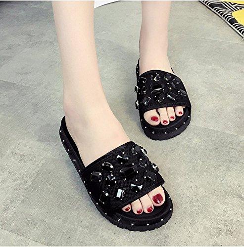 RUGAI-UE Las mujeres sandalias de suela gruesa inferior desgaste plano confort moda calzado de playa Black