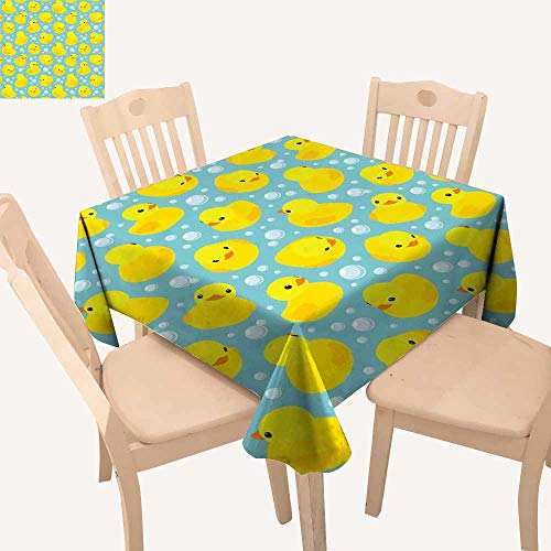 haommhome Nursery Dinning Tabletop Decoration Cute Happy Rubber Duck and Bubbles Cartoon Pattern Childhood Kids Theme Art Small Tablecloth W 60