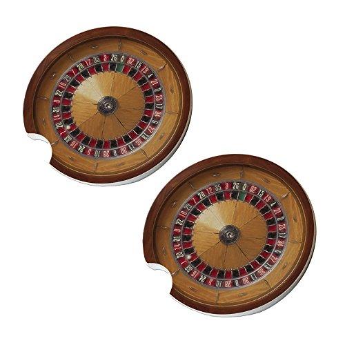 Roulette Wheel Car Coasters - Round Sandstone Car Coaster Set