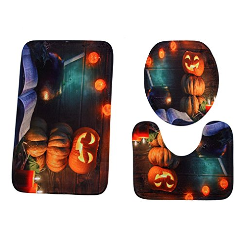 LINGERY Halloween Creative Pumpkin Bathroom Non-Slip Multiple Style Pedestal Rug + Lid Toilet Cover + Bath Mat , 3PCS/Set Various Style Hot Sale (H)